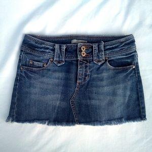 Refugee Fringed Denim Mini Skirt